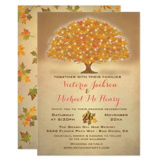 Boda rústico del otoño con las luces del centelleo invitación 12,7 x 17,8 cm