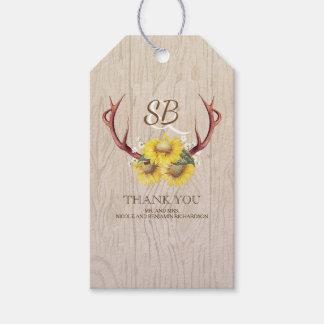 Boda rústico del país de las astas de los ciervos etiquetas para regalos