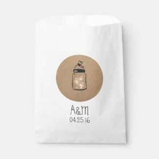 Boda rústico del tarro de albañil de las bolsa de papel