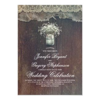 Boda rústico del tarro de albañil del país y de la invitación 12,7 x 17,8 cm