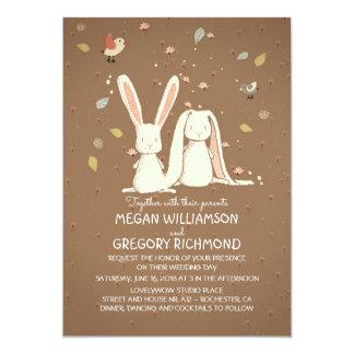 Boda rústico lindo del arbolado de los conejos de invitación 12,7 x 17,8 cm