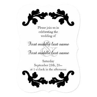 Boda simple y elegante blanco y negro invitación 12,7 x 17,8 cm