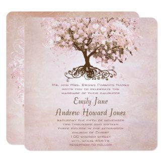 Boda simplemente rosado del pájaro del amor del invitación 13,3 cm x 13,3cm
