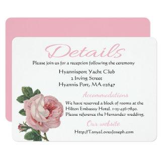 Boda subió dirección rosada de la flor de los invitación 11,4 x 15,8 cm