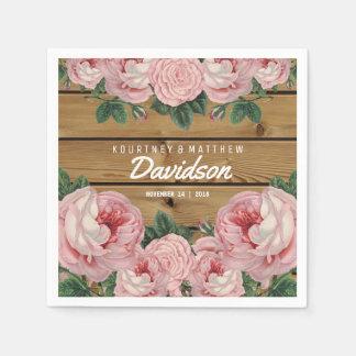 Boda subió rosa rústico del vintage servilleta de papel
