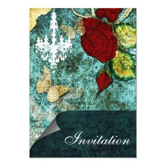 Boda subió vintage elegante rústico de la invitación 12,7 x 17,8 cm