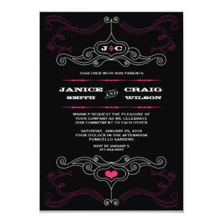 Boda temático de la música rosada y negra del invitación 12,7 x 17,8 cm