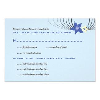 Boda tropical azul de la flor del Frangipani de Invitación 8,9 X 12,7 Cm