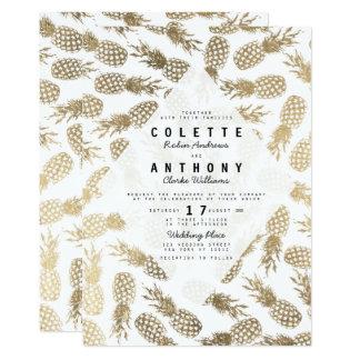 Boda tropical de la falsa piña blanca moderna del invitación 12,7 x 17,8 cm