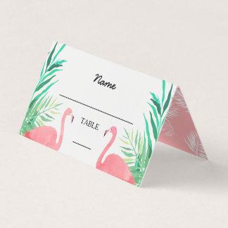 Boda tropical de los flamencos de la acuarela tarjeta de asiento