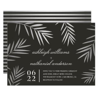 Boda tropical de plata del destino de las hojas de invitación 12,7 x 17,8 cm