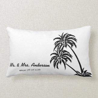Boda tropical del amor de las palmeras cojín lumbar