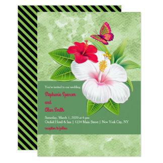 Boda tropical intrépido de la mariposa del hibisco invitación 12,7 x 17,8 cm