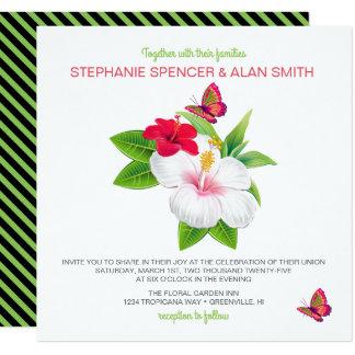 Boda tropical intrépido de la mariposa del hibisco invitación 13,3 cm x 13,3cm