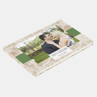 Boda verde de la arpillera y de la foto del cordón libro de visitas