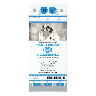 Boda verde del boleto del fútbol del azul y de los invitación 10,1 x 23,5 cm