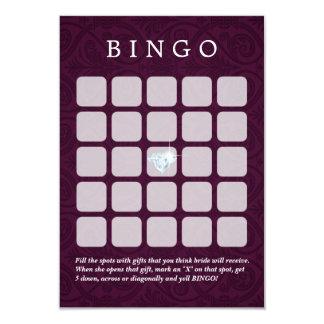 Boda violeta del damasco/tarjetas nupciales del invitación 8,9 x 12,7 cm