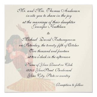 Boda y recepción de HawaiianTropical del vintage Invitación 13,3 Cm X 13,3cm