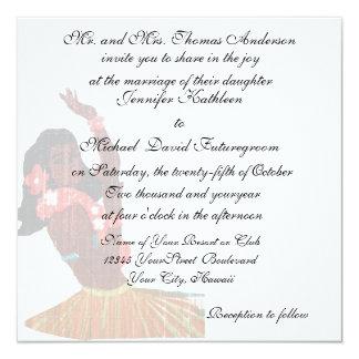 Boda y recepción tropicales hawaianos del vintage invitación 13,3 cm x 13,3cm