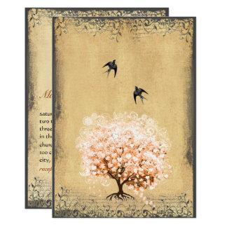 Bodas de los pájaros del vintage del árbol invitación 12,7 x 17,8 cm