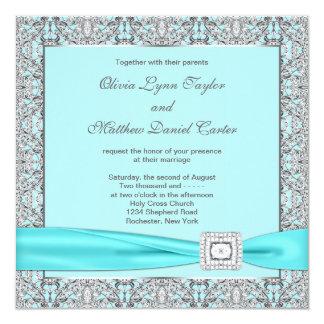 Bodas de plata azul del trullo invitación 13,3 cm x 13,3cm
