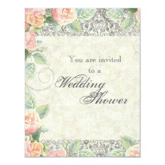 Bodas de plata color de rosa y inglesa o ducha invitación 10,8 x 13,9 cm