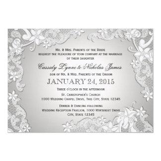 Bodas de plata del cordón blanco del vintage invitación 12,7 x 17,8 cm