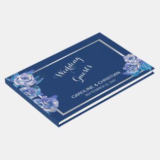 Bodas de plata floral azul elegante libro de invitados