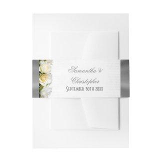 Bodas de plata floral y del rosa blanco cintas para invitaciones