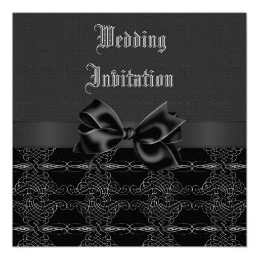 Bodas de plata negra del vintage elegante y gótica anuncios personalizados