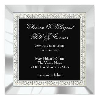 Bodas de plata negra y invitación 13,3 cm x 13,3cm
