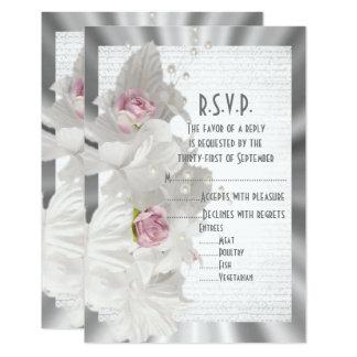 Bodas de plata subió rosa R.S.V.P de la flor Invitación 8,9 X 12,7 Cm