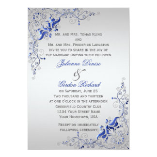 Bodas florales de plata azules adornados de los invitación 12,7 x 17,8 cm