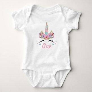 Body Para Bebé 1r equipo de la fiesta de cumpleaños del unicornio