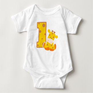 Body Para Bebé 1r Jirafa del cumpleaños