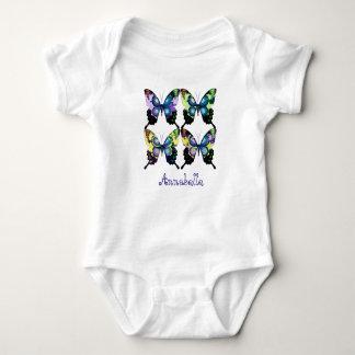 """Body Para Bebé """"Aguamarina, rosa, y amarillo - mariposas"""