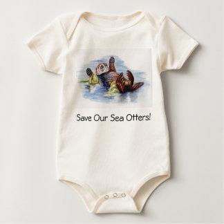 Body Para Bebé Ahorre nuestra enredadera del bebé de las nutrias