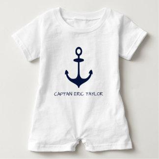 Body Para Bebé Ancla náutica personalizada de los azules marinos