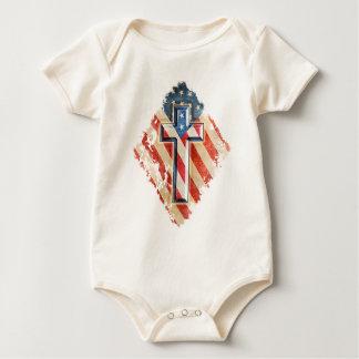 Body Para Bebé Apariencia vintage cristiana de la cruz de la fe