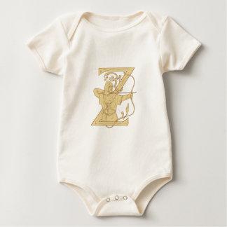 Body Para Bebé Archer medieval que apunta drenaje de la letra Z