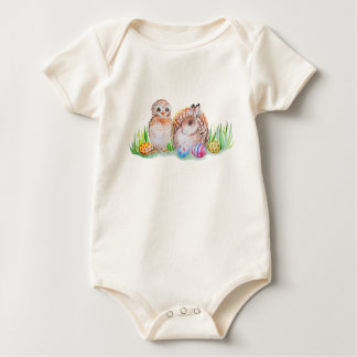Body Para Bebé Arte de Pascua del búho y del conejito