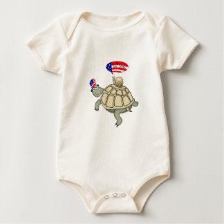 Body Para Bebé bandera americana de la tortuga y del caracol