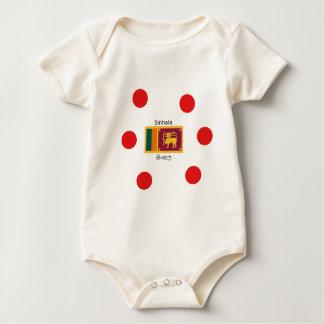 Body Para Bebé Bandera de Sri Lanka y diseño de la lengua de