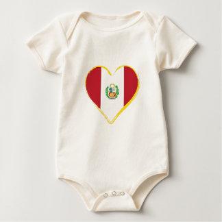Body Para Bebé Bandera peruana de la forma del corazón con el