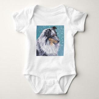 Body Para Bebé Bella arte hermosa del perro pastor de Sheltie