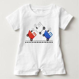 Body Para Bebé Caboose blanco y azul rojo del tren