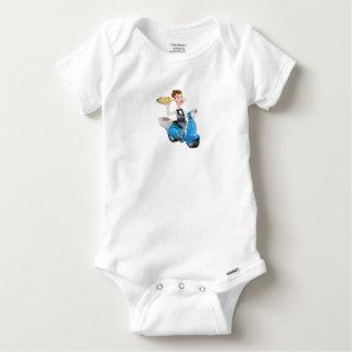Body Para Bebé Camarero del dibujo animado en el ciclomotor de la