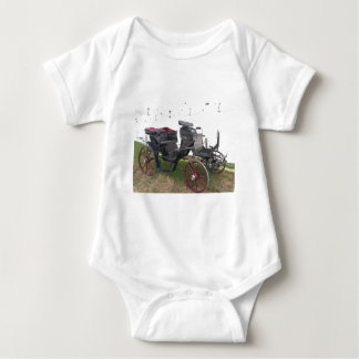 Body Para Bebé Carro pasado de moda del caballo en hierba verde