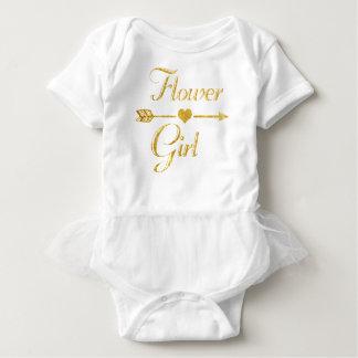 Body Para Bebé Casar al florista nupcial del oro del purpurina de