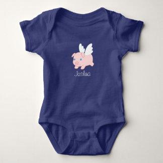 Body Para Bebé Cerdo del vuelo - cochinillo lindo con las alas